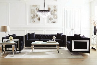 509361-62 2 pc Strick & Bolton la rose delilah black velvet fabric button tufted back sofa and love seat set