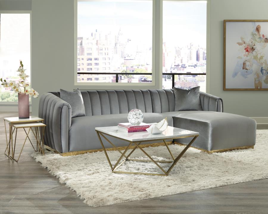 509490 2 pc Grisby fairhaven silver velvet fabric sectional sofa with tufted backs gold accents