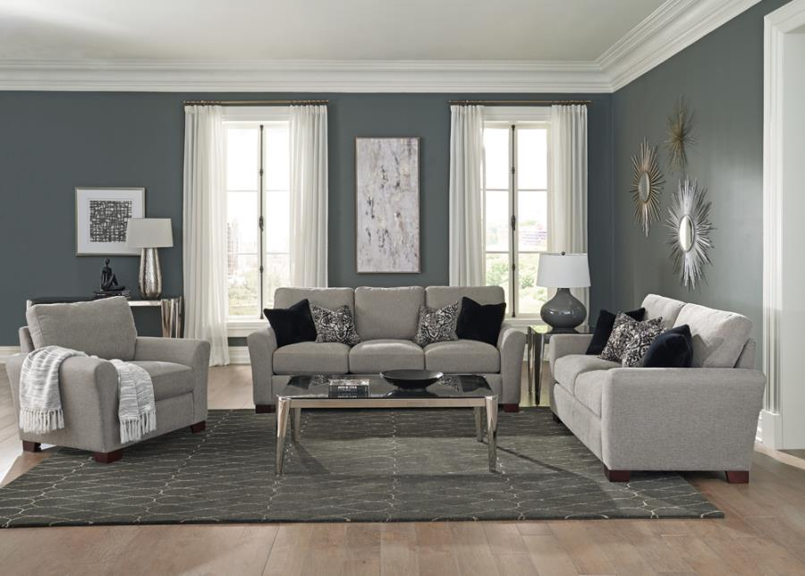 509721-22 2 pc Orren ellis mullens drayton arm grey woven fabric sofa and love seat set