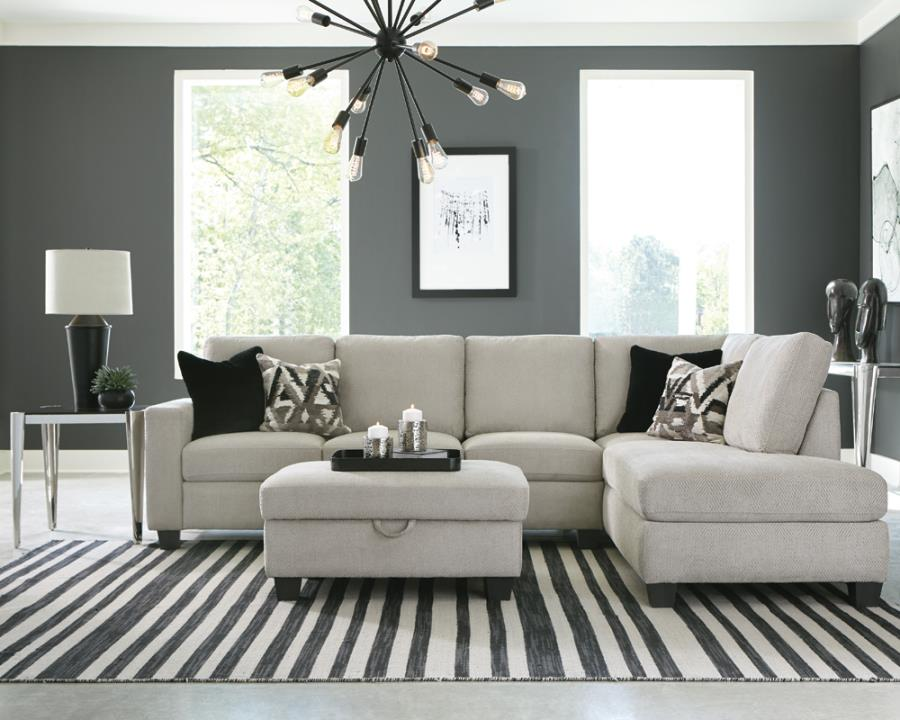 509766 2 pc Whitson fairhaven stone chenille fabric sectional sofa with squared arms