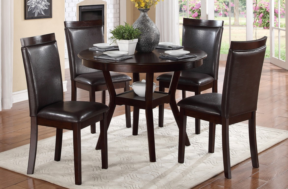 Homelegance 5104-5PC 5 pc Darby home co shankmen espresso finish wood round dining table set with seats