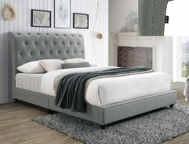 5104GY Willa arlos interiors janine gray fabric button tufted headboard queen bed