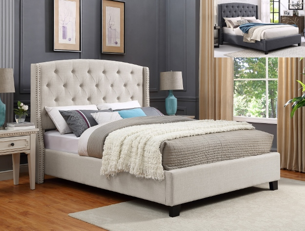 5111-IV Eva ivory colored fabric upholstered button tufted headboard queen bed