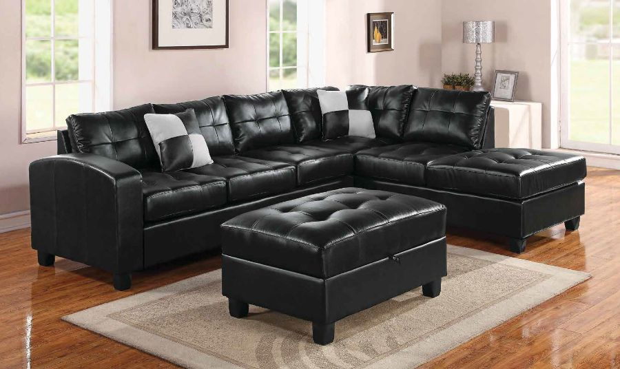 2 pc kiva collection espresso bonded leather match upholstered reversible sectional sofa