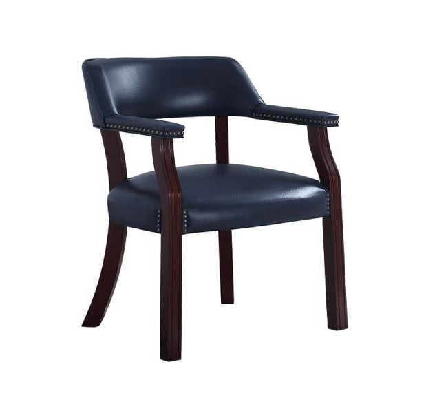411N Charlton home walford blue vinyl seat , back and arms captains guest chair espresso finish wood