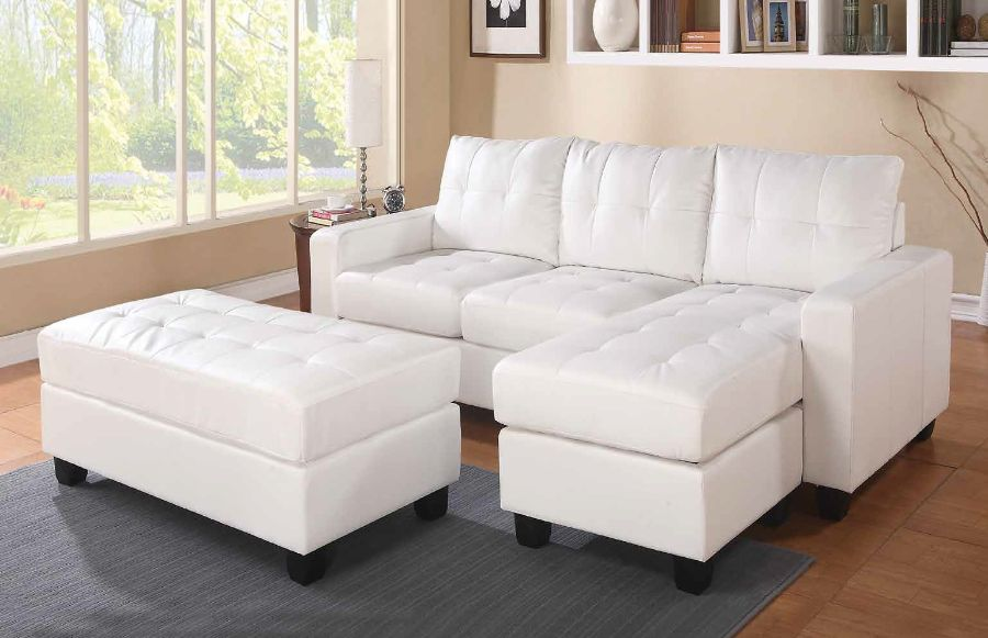 Acme 51210 2 pc Orren ellis autenberry lyssa white bonded leather match sectional sofa with reversible chaise