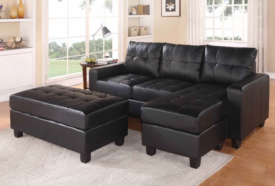 Acme 51215 2 pc Orren ellis autenberry lyssa black bonded leather match sectional sofa with reversible chaise