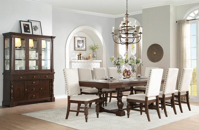 Homelegance 5167-96 7 pc yates burnished dark oak finish wood dining table set fabric padded seats and backs