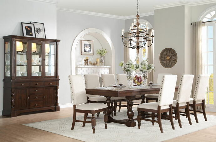 7 pc yates collection burnished dark oak finish wood dining table set with fabric padded seats and backs