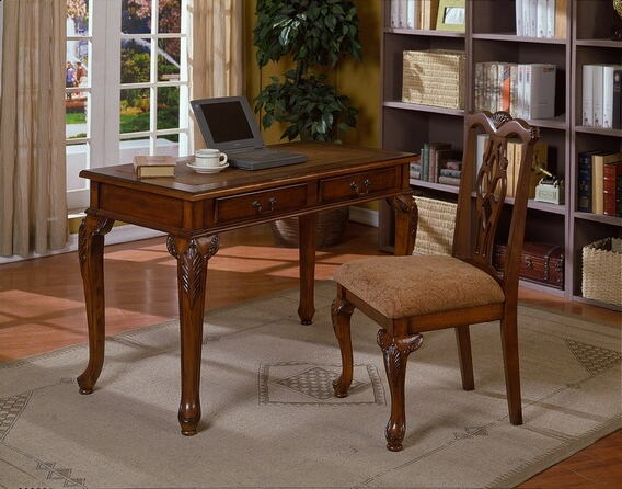 2 pc writing desk and chair set in a cherry brown finish wood