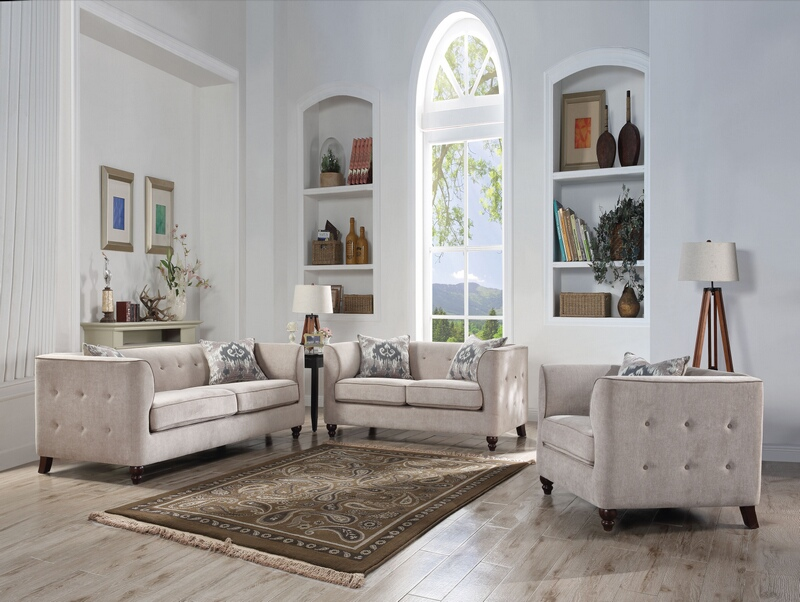 Acme 52055-56 2 pc Cyndi light gray fabric tufted accents sofa and love seat set