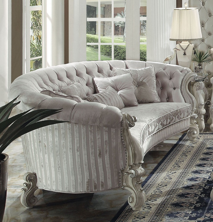 "Acme 52085 Astoria Grand dicus versailles bone white finish wood carved accents 109"" sofa"