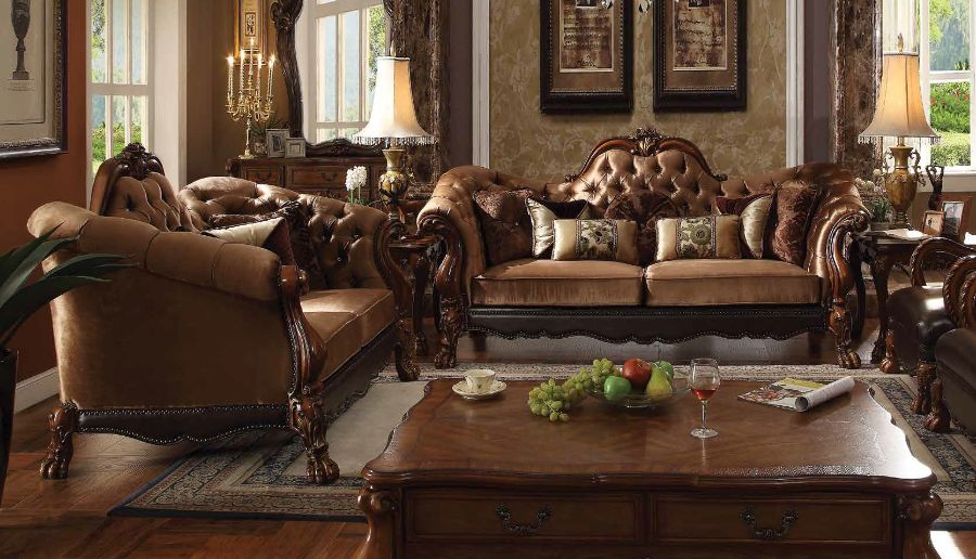 2 pc dresden collection cherry oak finish wood and golden brown velvet upholstery sofa and love seat set