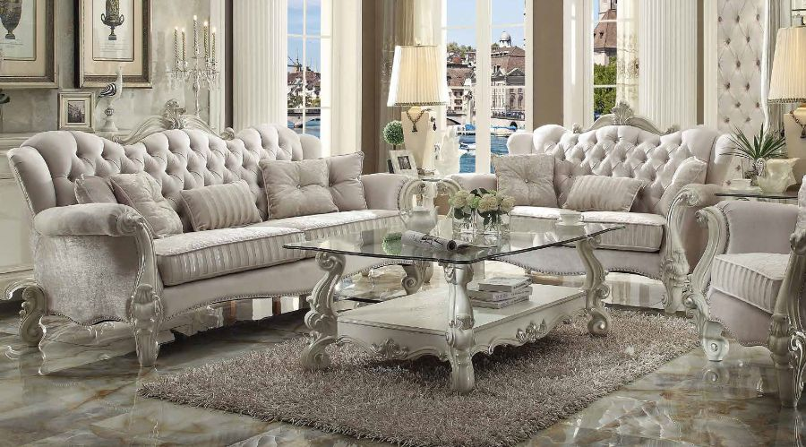 2 pc versailles collection bone white finish wood and ivory velvet fabric upholstery sofa and love seat set
