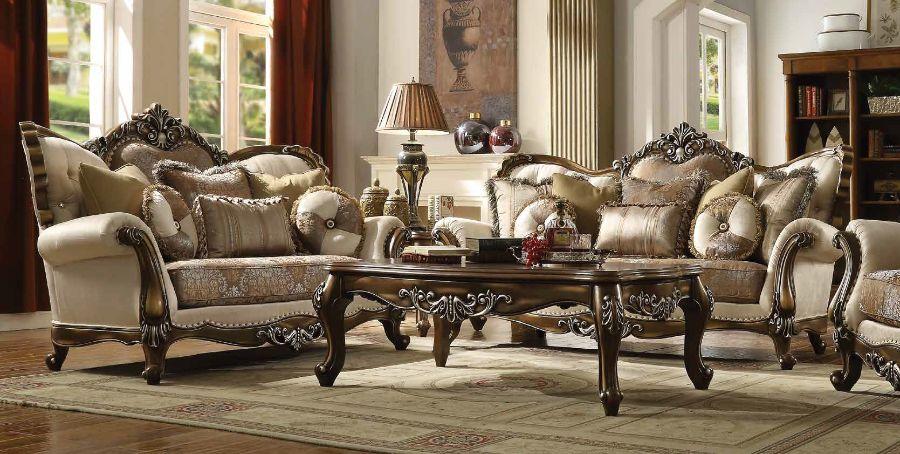 Acme 52115-16 2 pc Astoria grand nebel latisha antique oak finish wood tan fabric sofa and love seat set