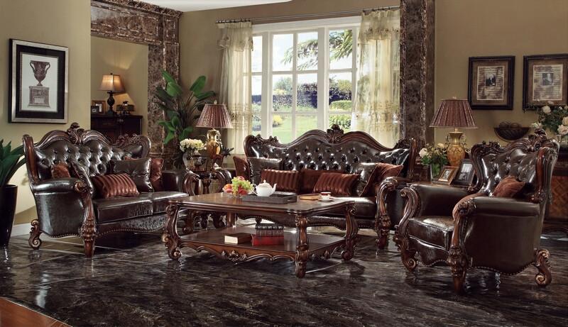Acme 52120-21 2 pc Astoria grand timothy versailles cherry oak finish wood 2 tone dark brown faux leather sofa and love seat set