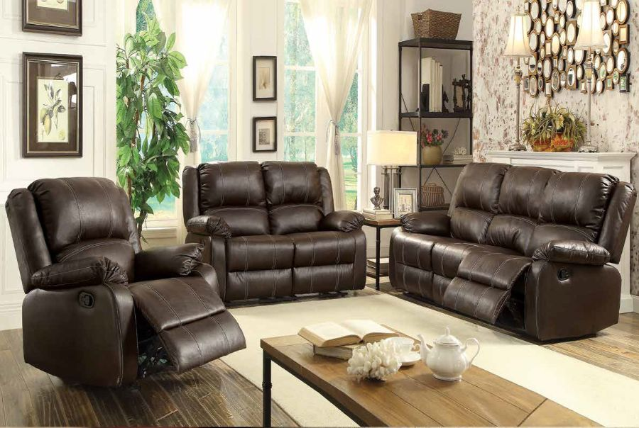 2 pc zuriel collection brown faux leather upholstered sofa and love seat set with recliner ends