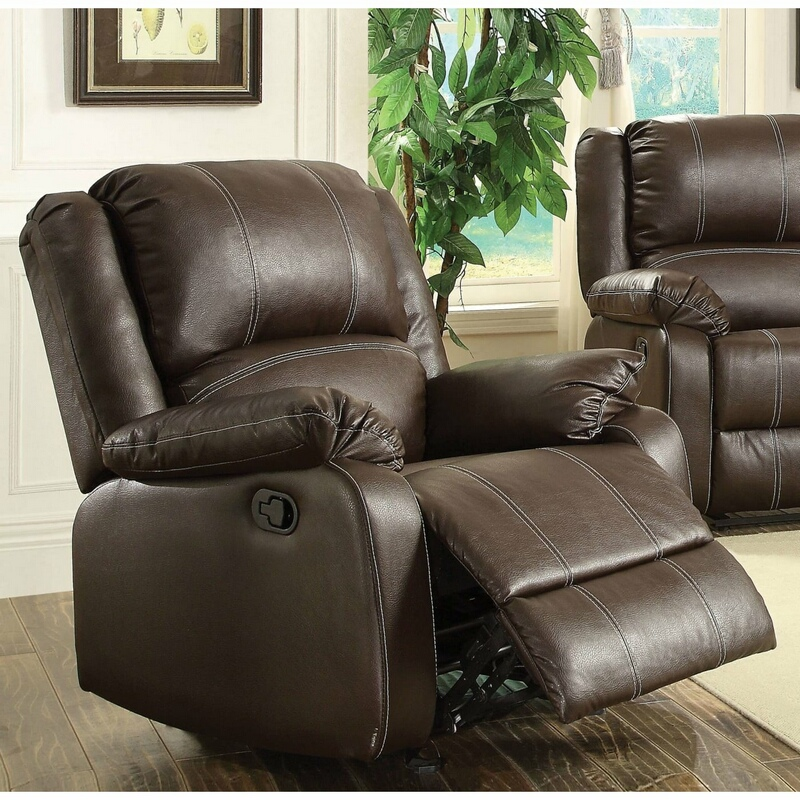 Acme 52282 Zuriel brown faux leather rocker recliner chair