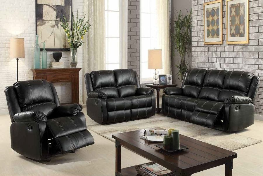 Acme 52285-86 2 pc Red barrel studio swinford zuriel black faux leather sofa and love seat set with recliner ends