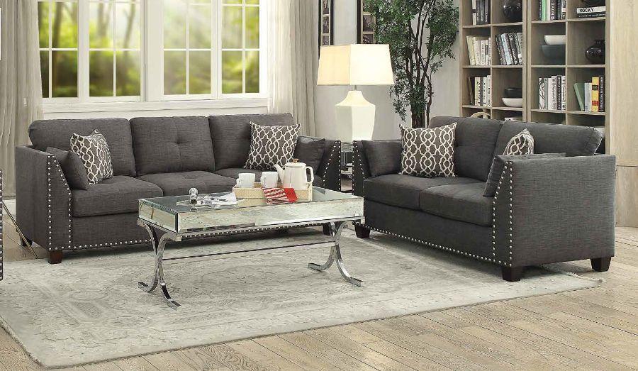 Acme 52405-06 2 pc Alcott hill draco laurissa light charcoal linen fabric sofa and love seat set
