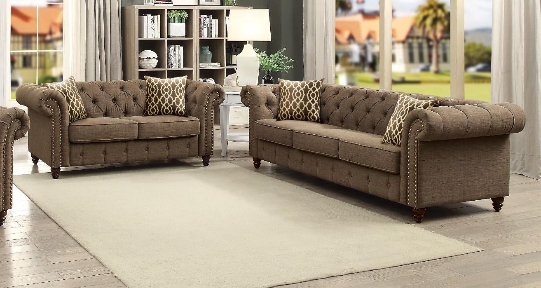 Acme 52425-26 2 pc A&J Homes studio nicole aurelia II brown linen like fabric sofa and love seat set tufted backs