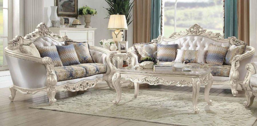 Acme 52440-41 2 pc Rosdork park pulaski gorsedd antique white finish wood cream fabric sofa and love seat set