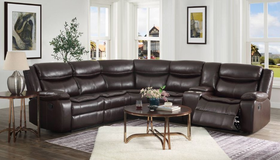 Acme 52545 3 pc Red barrel studio tavin espresso leather sire sectional sofa with recliners and drink console