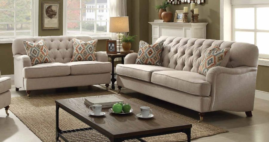 2 pc alianza collection beige fabric upholstered sofa and love seat set