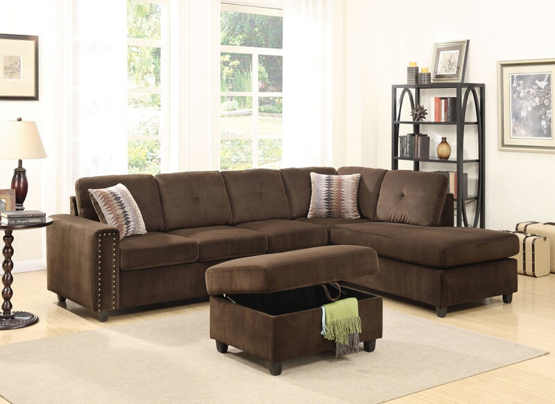 Acme 52700 2 pc Red barrel studio tavish belville chocolate velvet fabric sectional sofa with reversible chaise