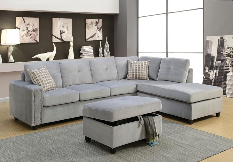 Acme 52710 2 pc Red barrel studio tavish belville grey velvet fabric sectional sofa with reversible chaise