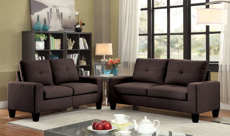 Acme 52730 2 pc Winston porter offerman platinum ii chocolate linen fabric sofa and love seat set