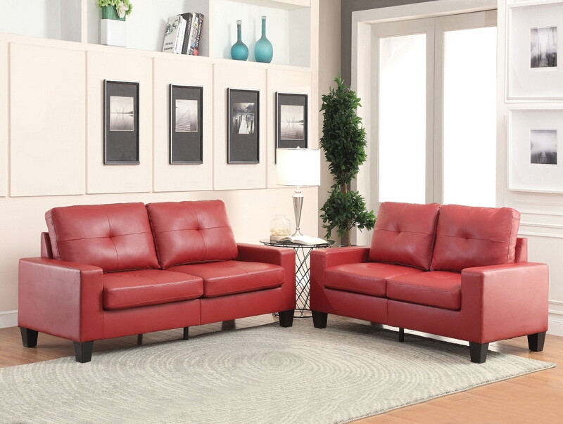 Acme 52745 2 pc Platinum II red faux leather tufted backs sofa and love seat set