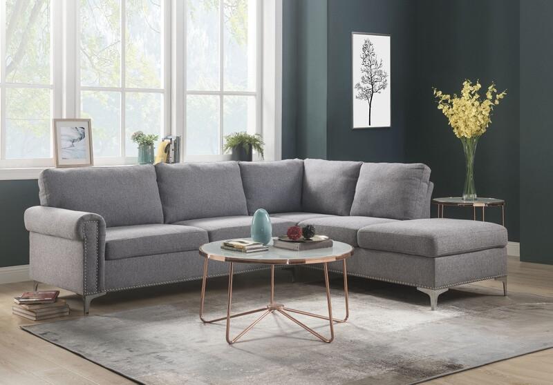 Acme 52755 2 pc Orren ellis elvin melvyn gray fabric sectional sofa with metal legs