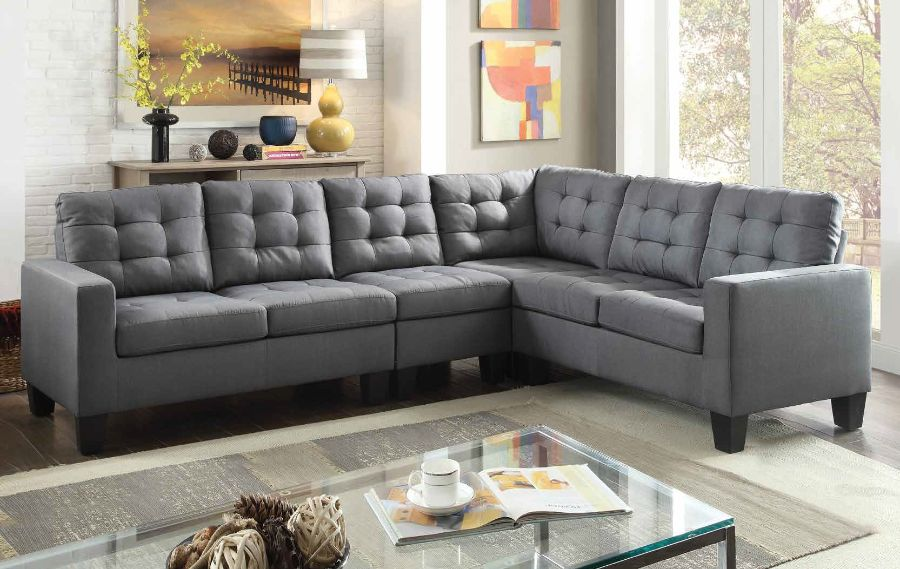 Acme 52760 2 pc Brayden studio earsom grey linen fabric sectional sofa
