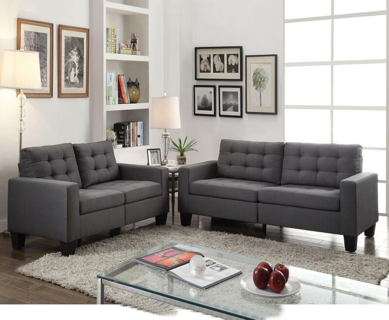 Acme 52770-71 2 pc Latitude run dulcie earsom gray linen fabric tufted backs sofa and love seat set