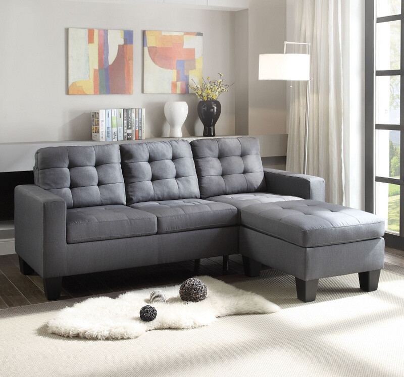 Acme 52775 2 pc Winston porter orchard cleavon II grey nen fabric sectional sofa with reversible chaise