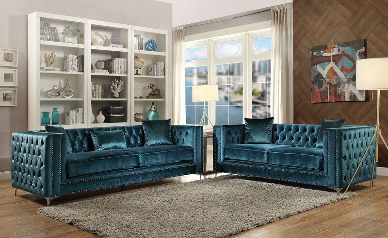 Acme 52790-91 2 pc Mercer 41 dunagan gillian dark teal fabric with nail head trim sofa and love seat set