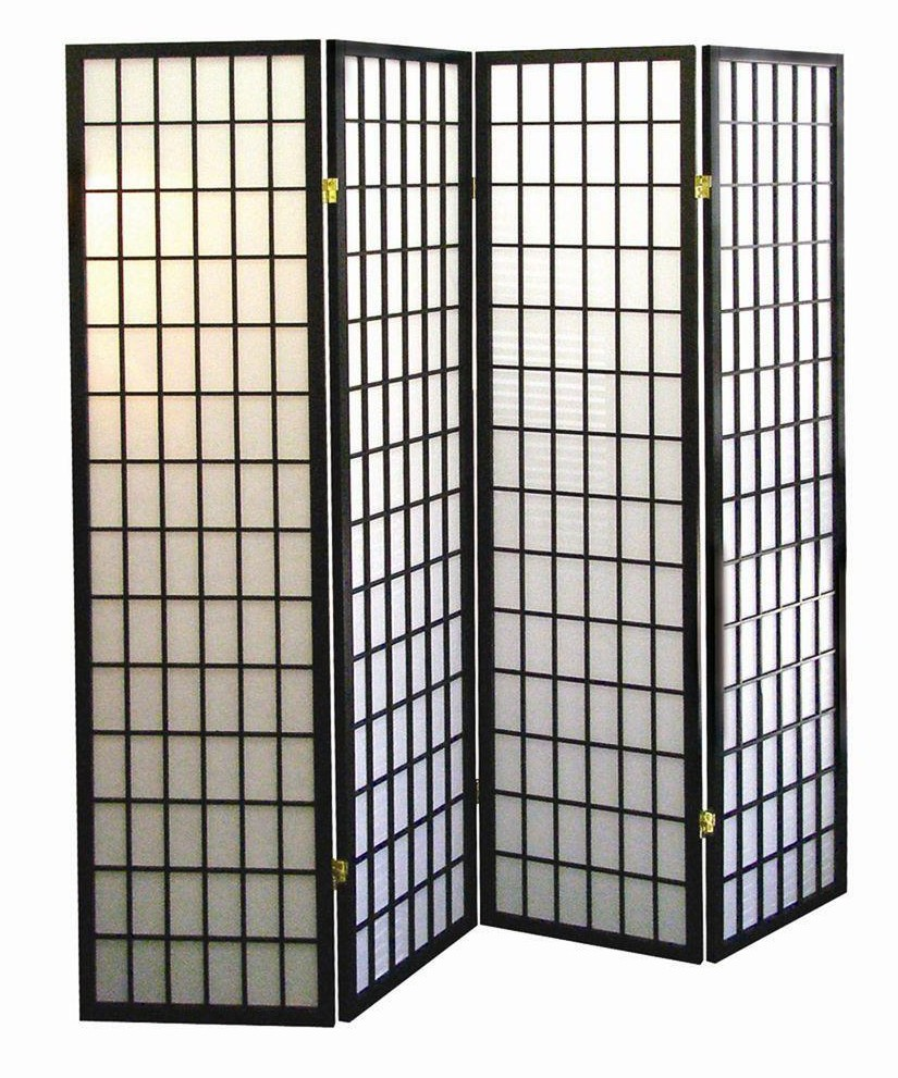 Asia Direct 530-4 4 panel black finish wood rice paper room divider shoji screen
