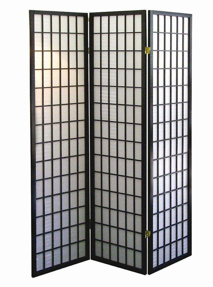Asia Direct 530 3 panel black finish wood rice paper room divider shoji screen