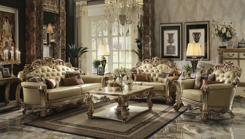 Acme 53000-01 2 pc Astoria grand welles vendome gold patina finish wood bone faux leather sofa and love seat set