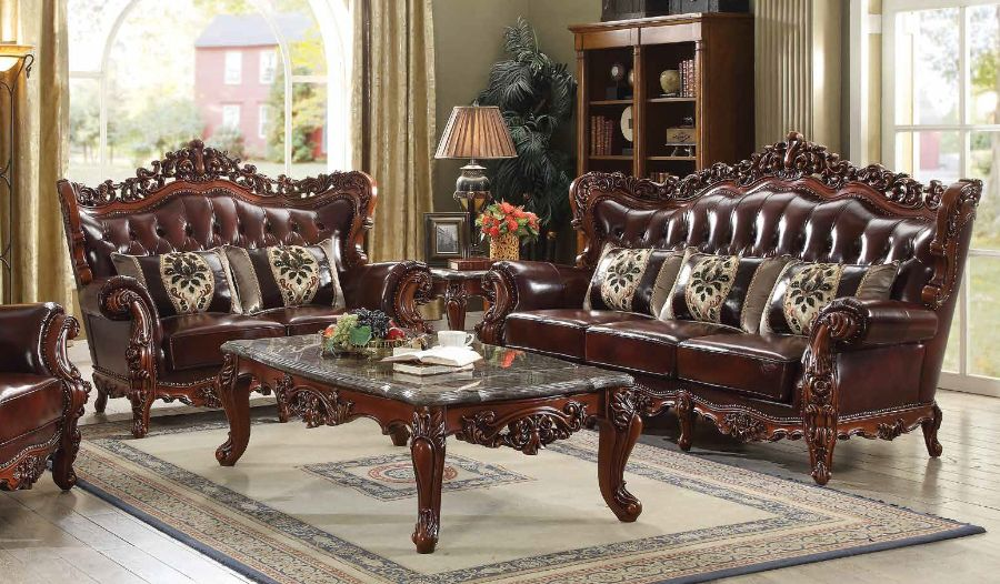 Acme 53065-66 2 pc Astoria grand misael eustoma walnut finish wood cherry top grain leather match sofa and love seat set