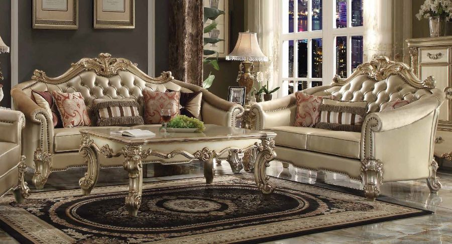 2 pc vendome ii collection gold patina finish wood and bone vinyl upholstery sofa and love seat set