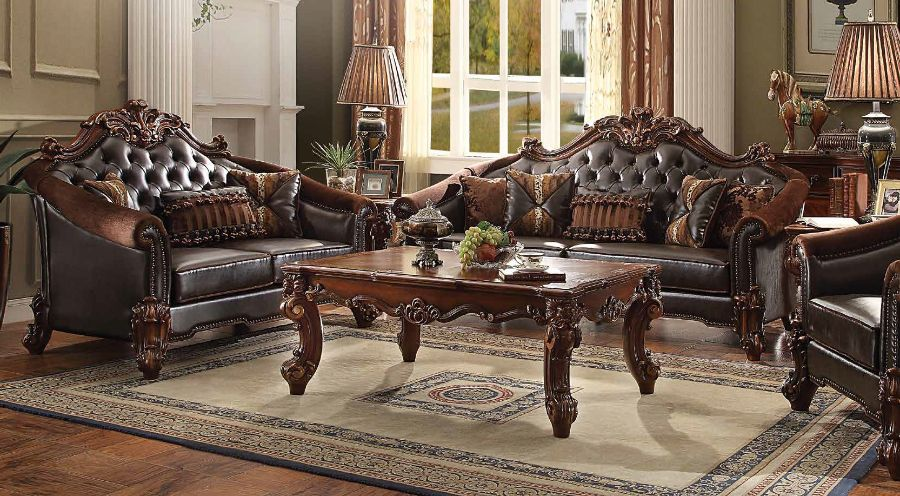 Acme 53130-31 2 pc Astoria grand bordadora vendome ii cherry finish wood two tone dark brown vinyl sofa and love seat set