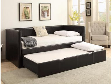 5320 Sadie dark vinyl upholstered twin day bed with trundle