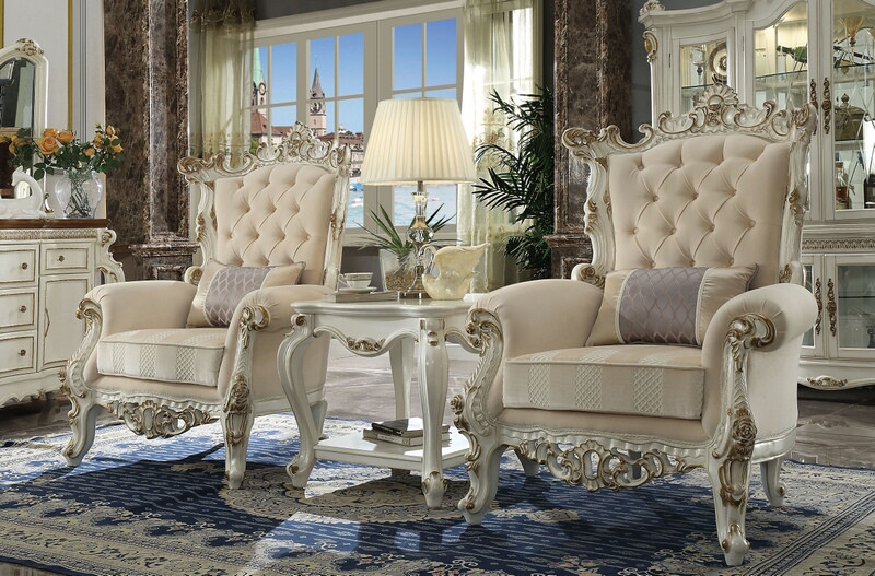Acme 53463-86882 3 pc Picardy II antique pearl finish wood carved accents chair and table set