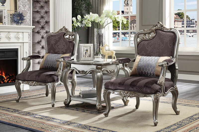 Acme 53466-67-83467 3 pc Picardy antique platinum finish wood velvet accent chairs and table