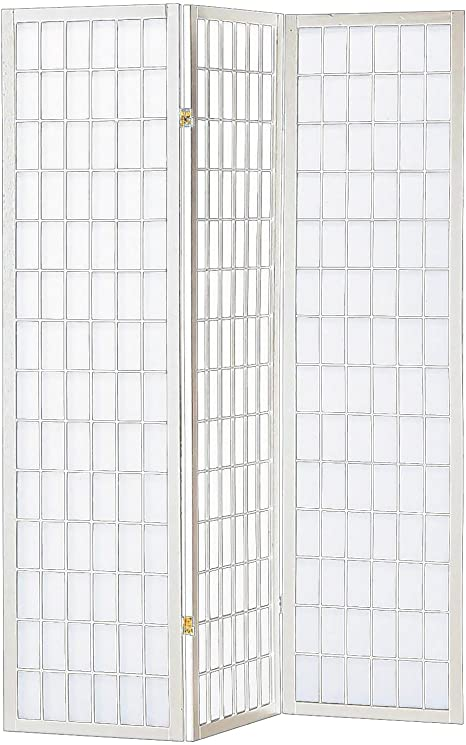 Asia Direct 535 3 panel white finish wood rice paper room divider shoji screen