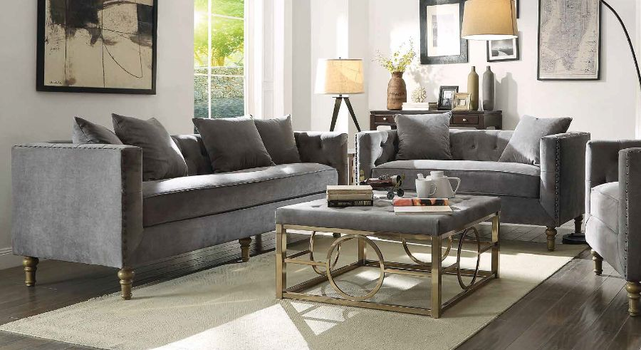 2 pc sidonia collection gray velvet upholstered sofa and love seat set