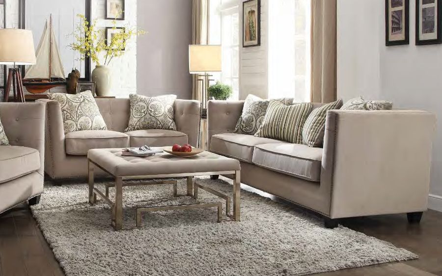 2 pc juliana collection beige fabric upholstered sofa and love seat set