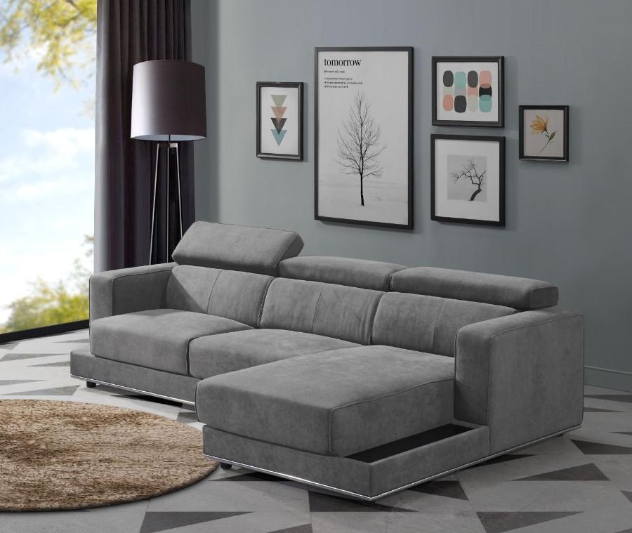 Acme 53720-23 2 pc Waldorf park alwin dark gray fabric modular sectional sofa with chaise